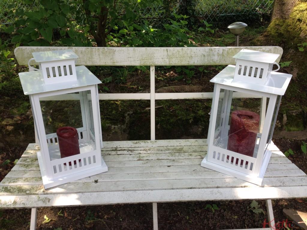 lanternes sur un banc
