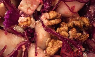 Salade de chou, poire, féta