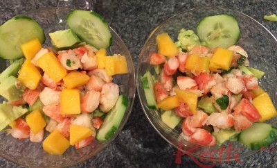 Cocktail de crevettes, avocat, mangue