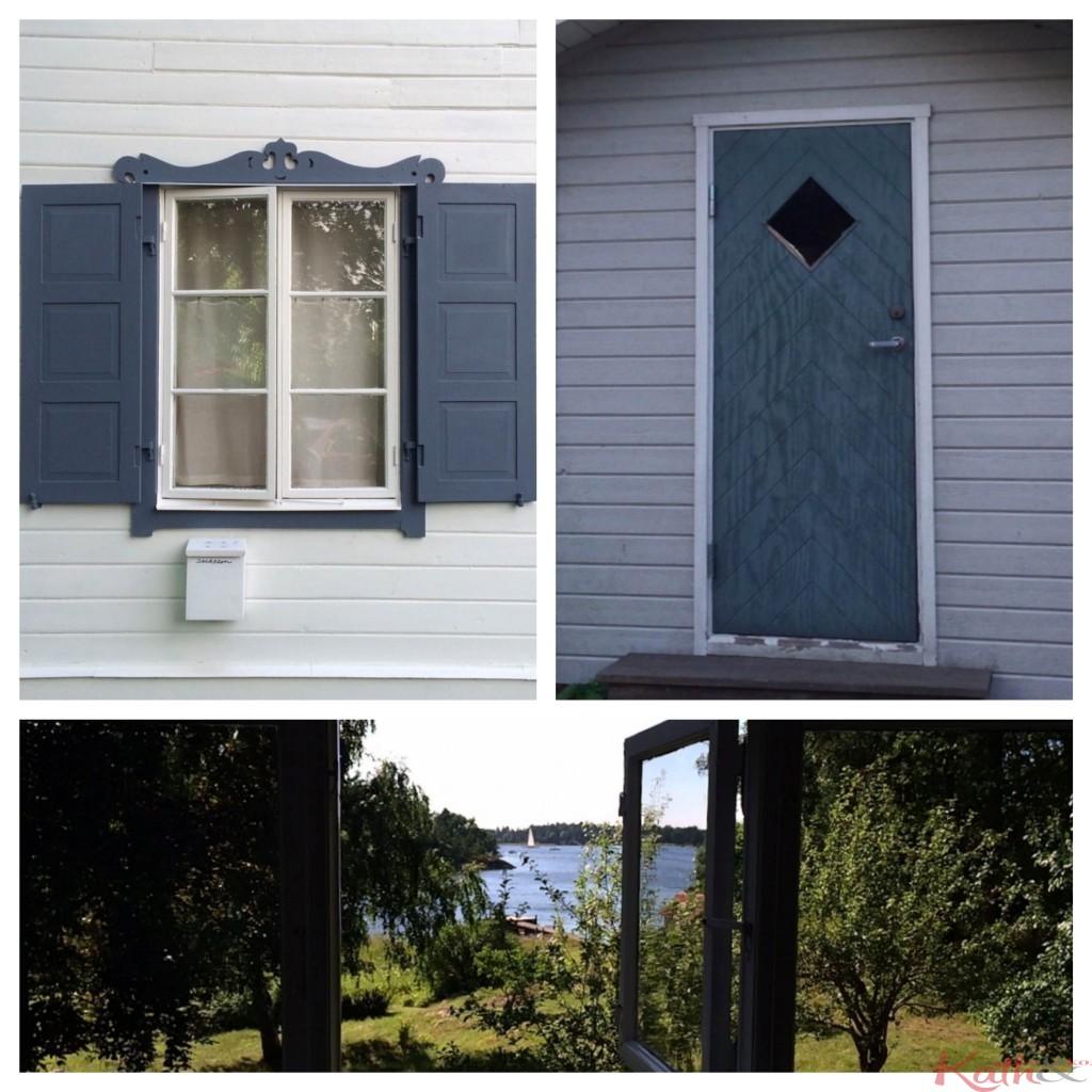 Fenêtre  et porte à Vaxholm, vue sur skarpö