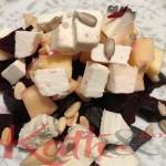 salade de betteraves, chèvre, pommes et pignons