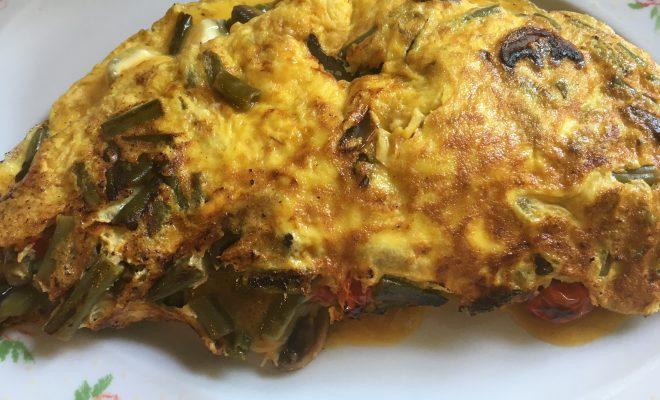 omelette aux légumes et au chèvre