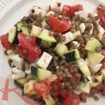salade de lentilles, féta, tomates